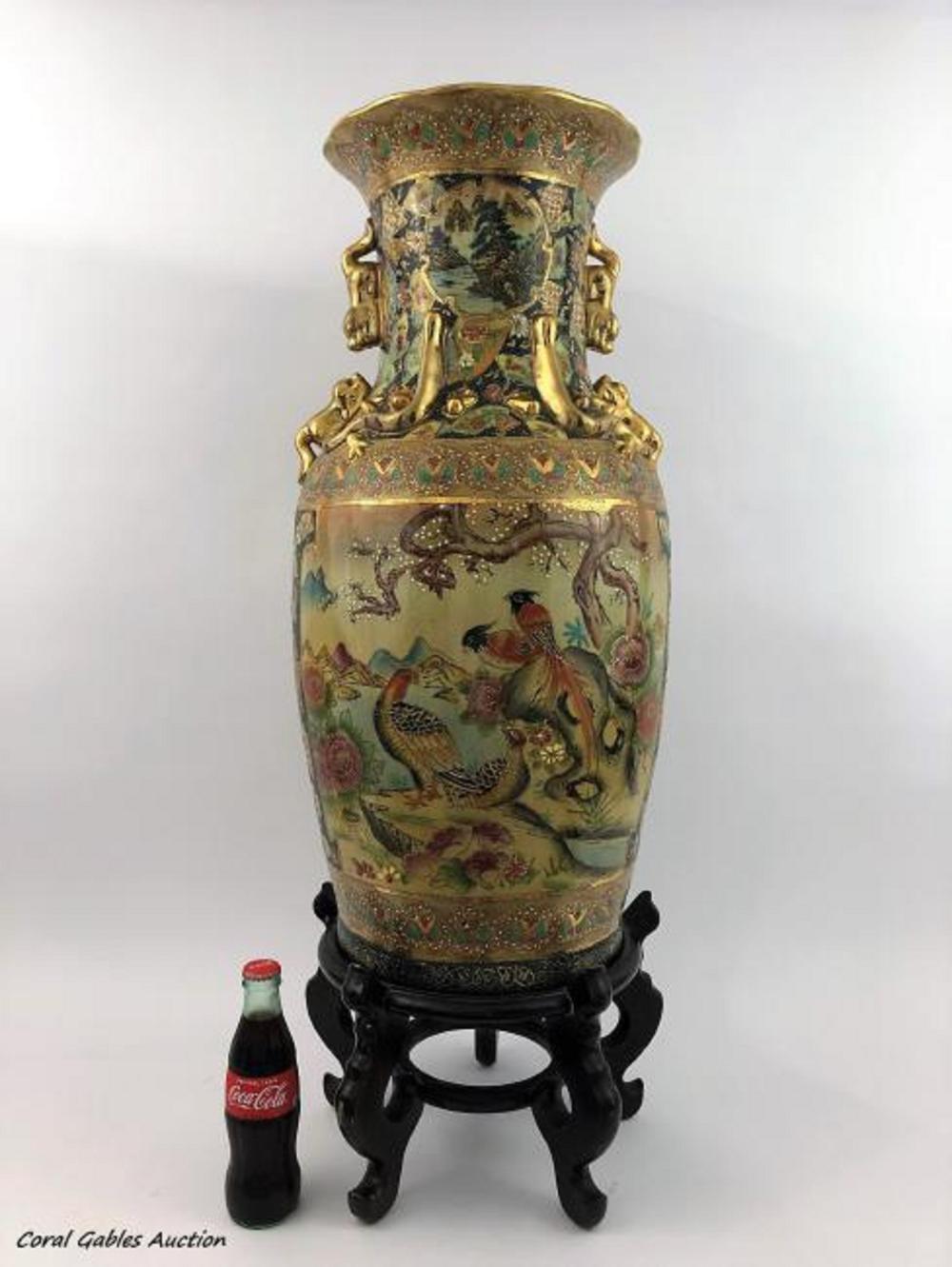 Vintage Large chinese Hand Painted Royal Satsuma Vase