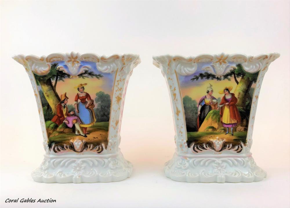 Antique Pair of Jacob Petit Vases
