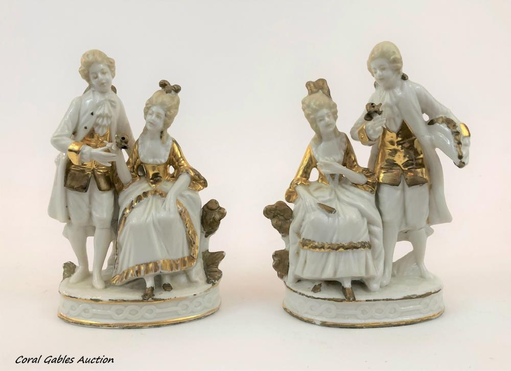 Pair of porcelain Capodimonte figures