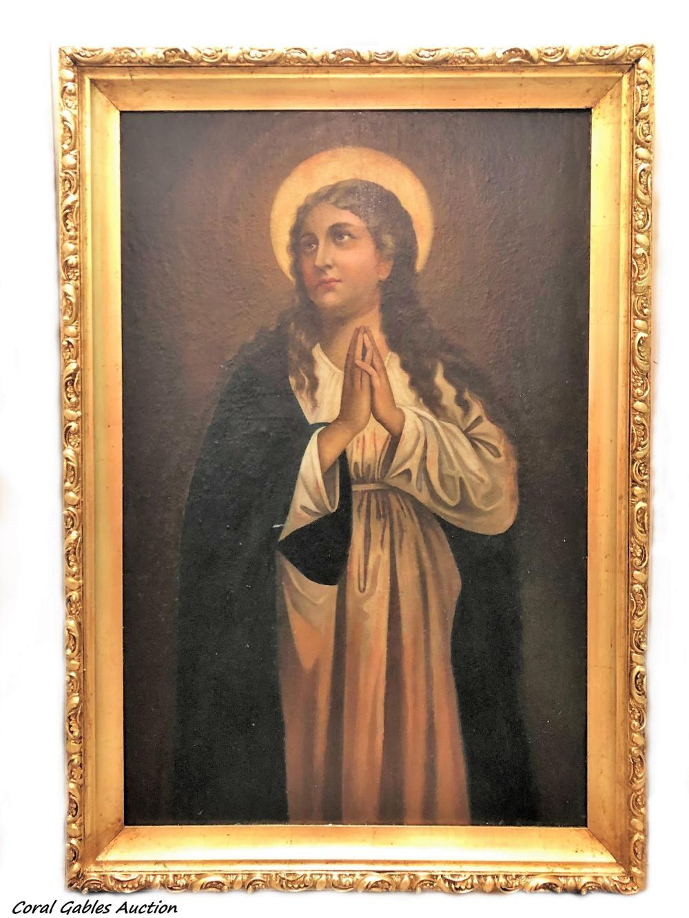 Religious painting. Oleo on canvas on board.