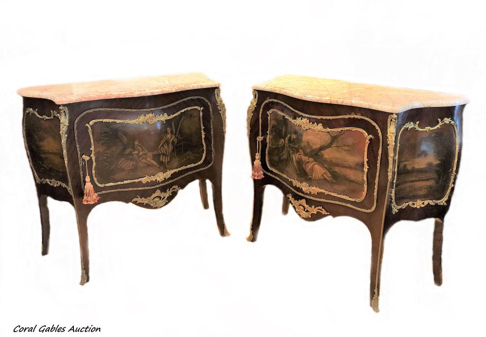 Pair of 19 century French Vernis Martin Style Commodes