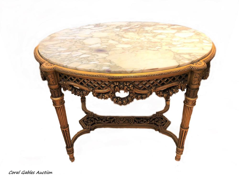 Hand carved wooden table and marble