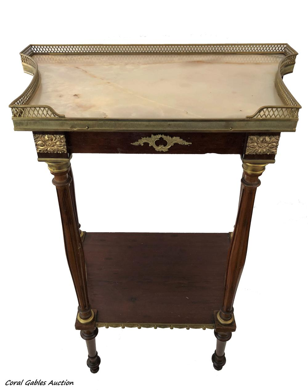 Wood table with bronce and marble on the top