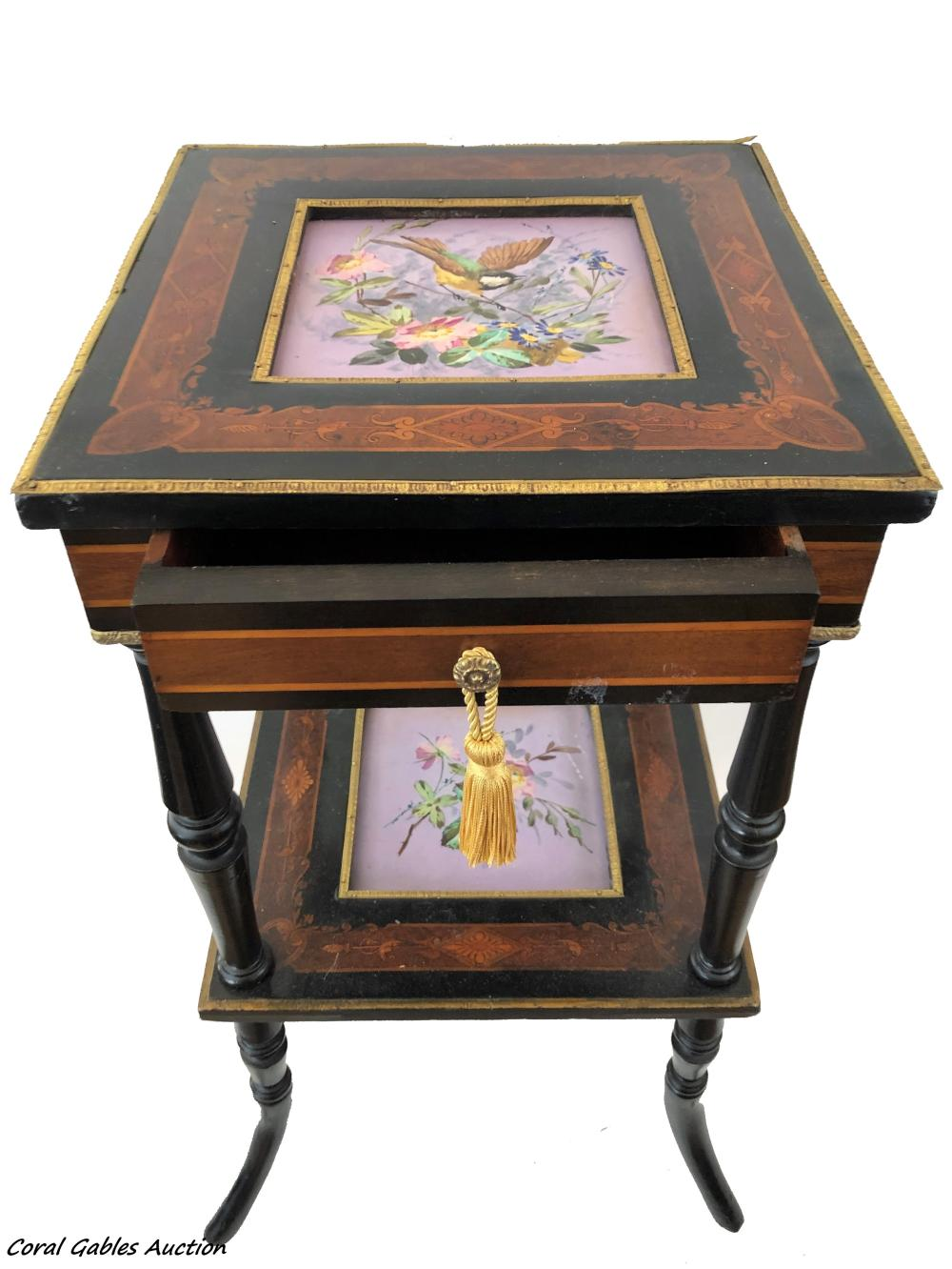 Wood table with porcelain plaques