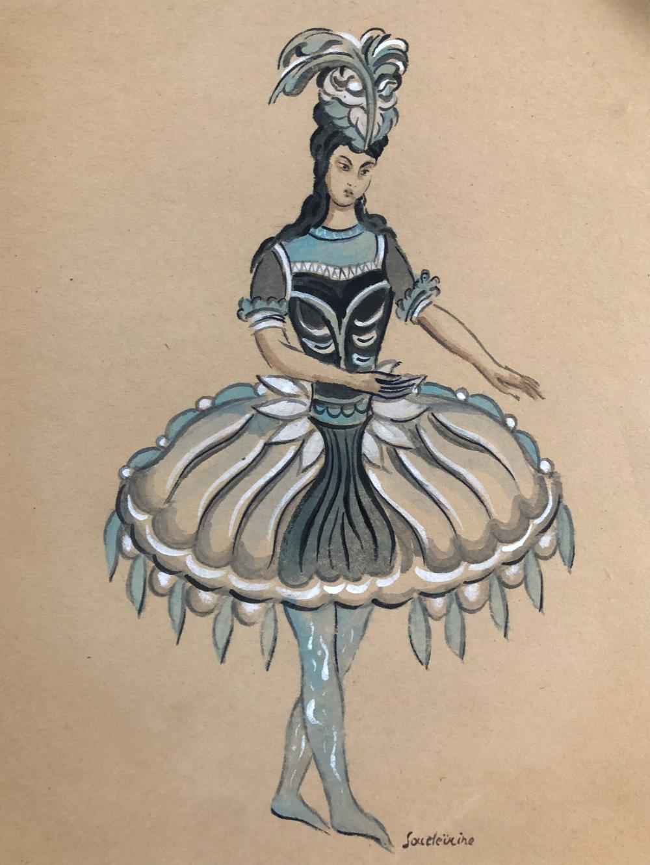 Sergei Soudeikine  (1883 - 1946). Pencil, Ink, Watercolor on Paper.