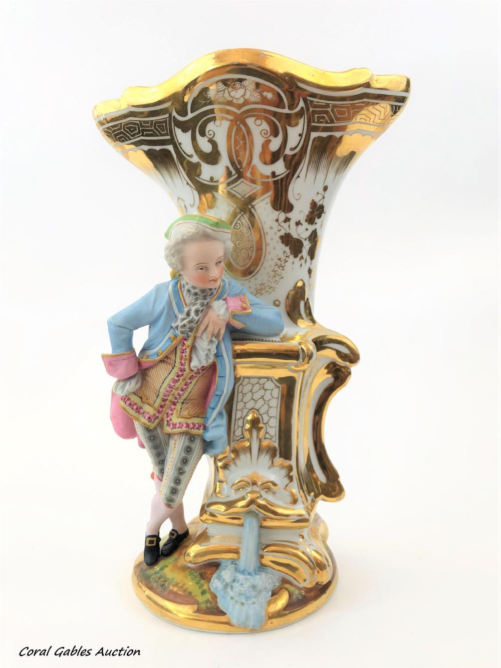 Antique Old Paris Vase with Biscuit  designs