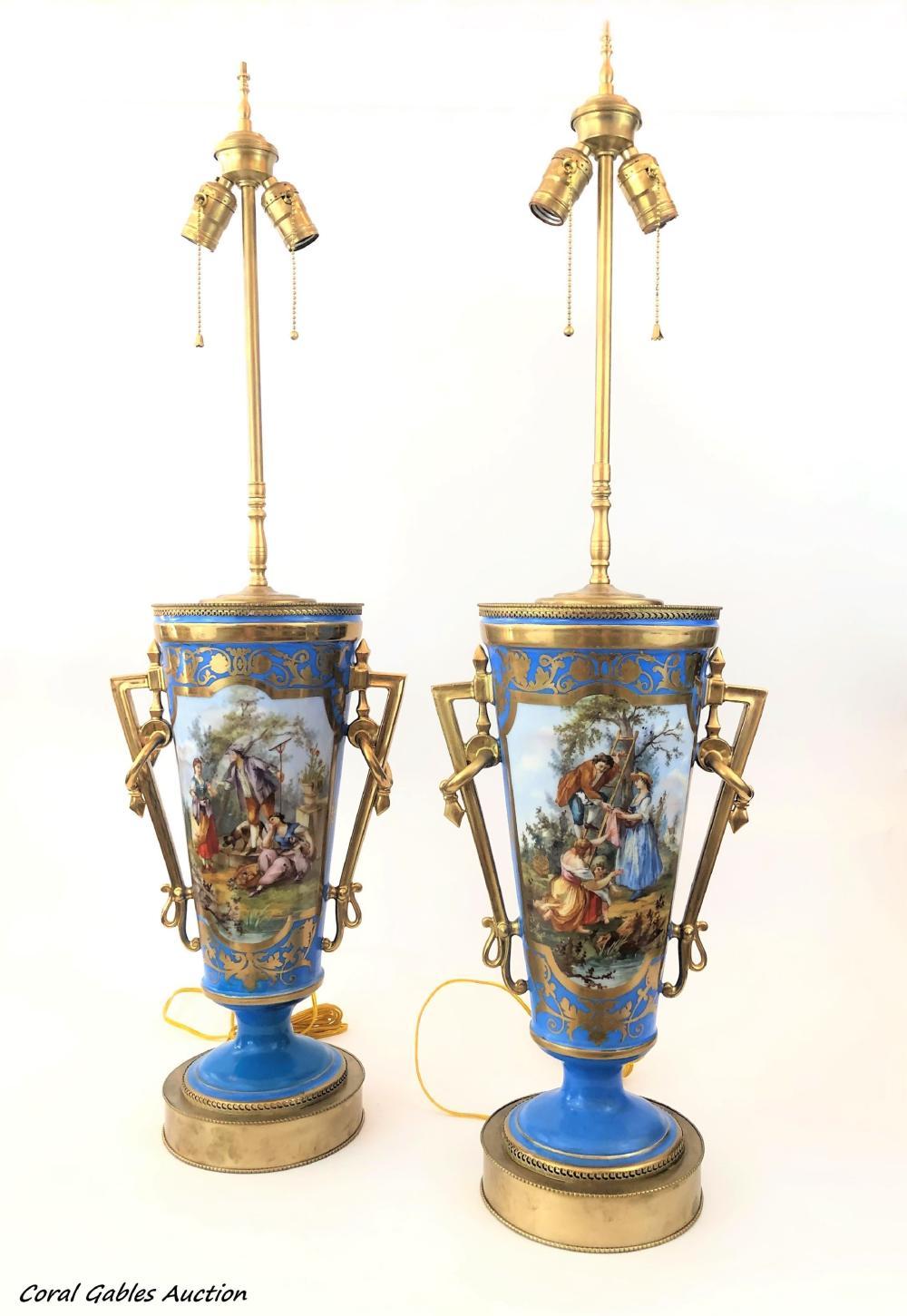 Pair of 19 century sevre lamp