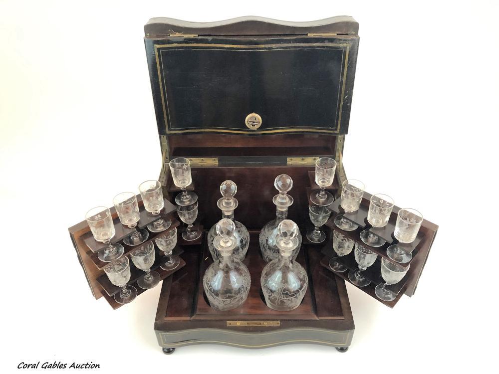 Antique glass liquor set with its original box