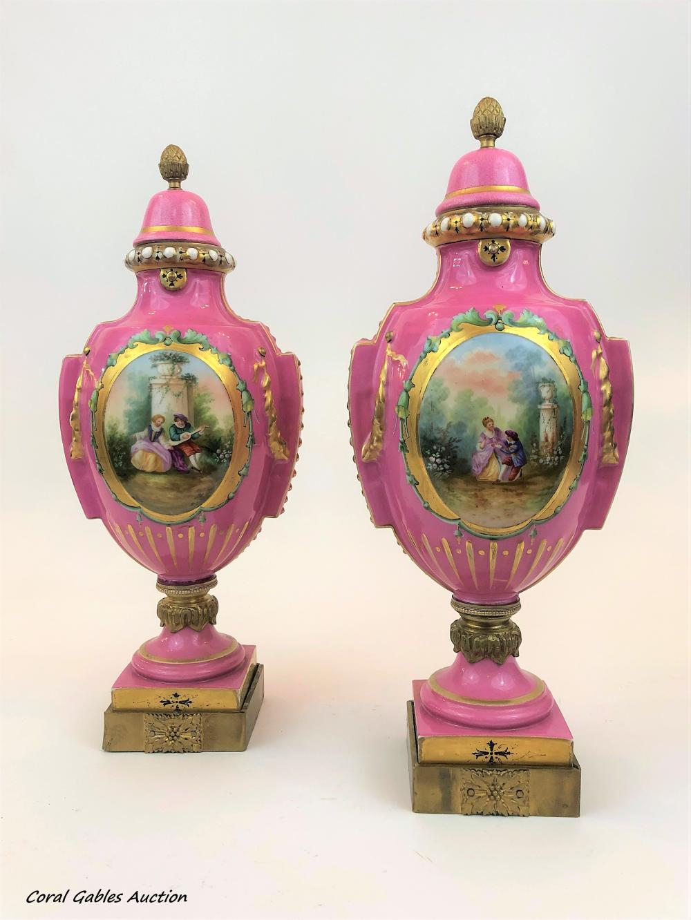 Pair of the 19th century pink sevres