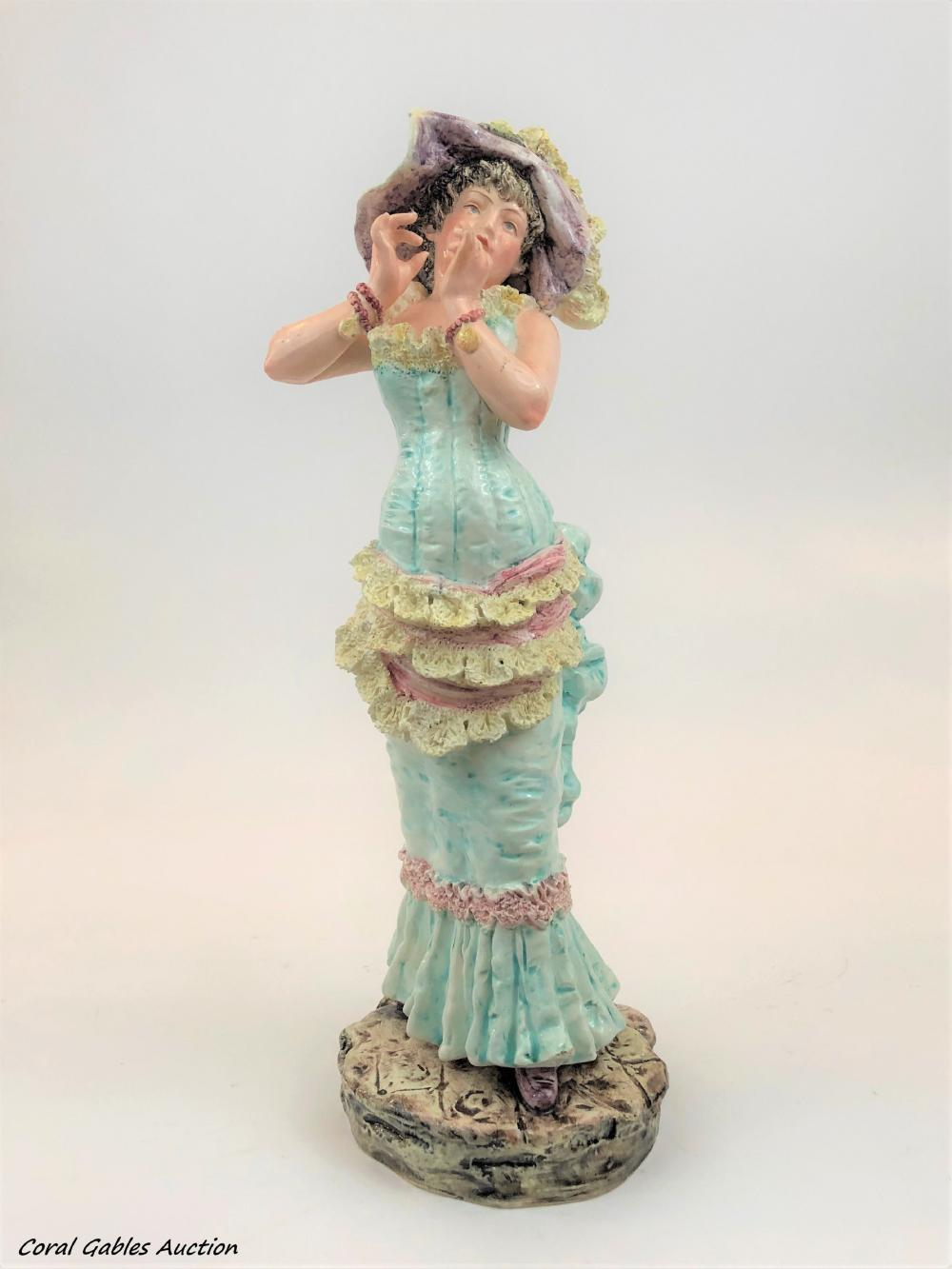 Antque Porcelain Majolica Figure