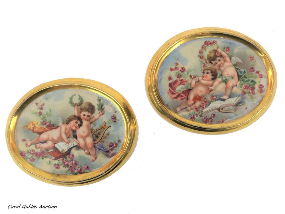 Pair of porcelain plaques