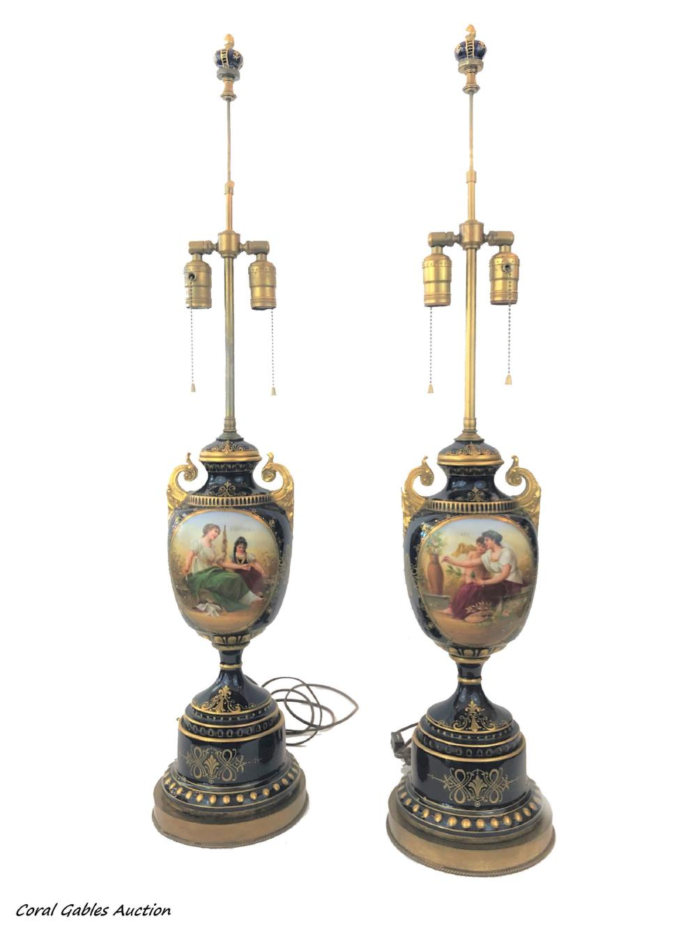 Pair of porcelain lamps Royal Vienna style