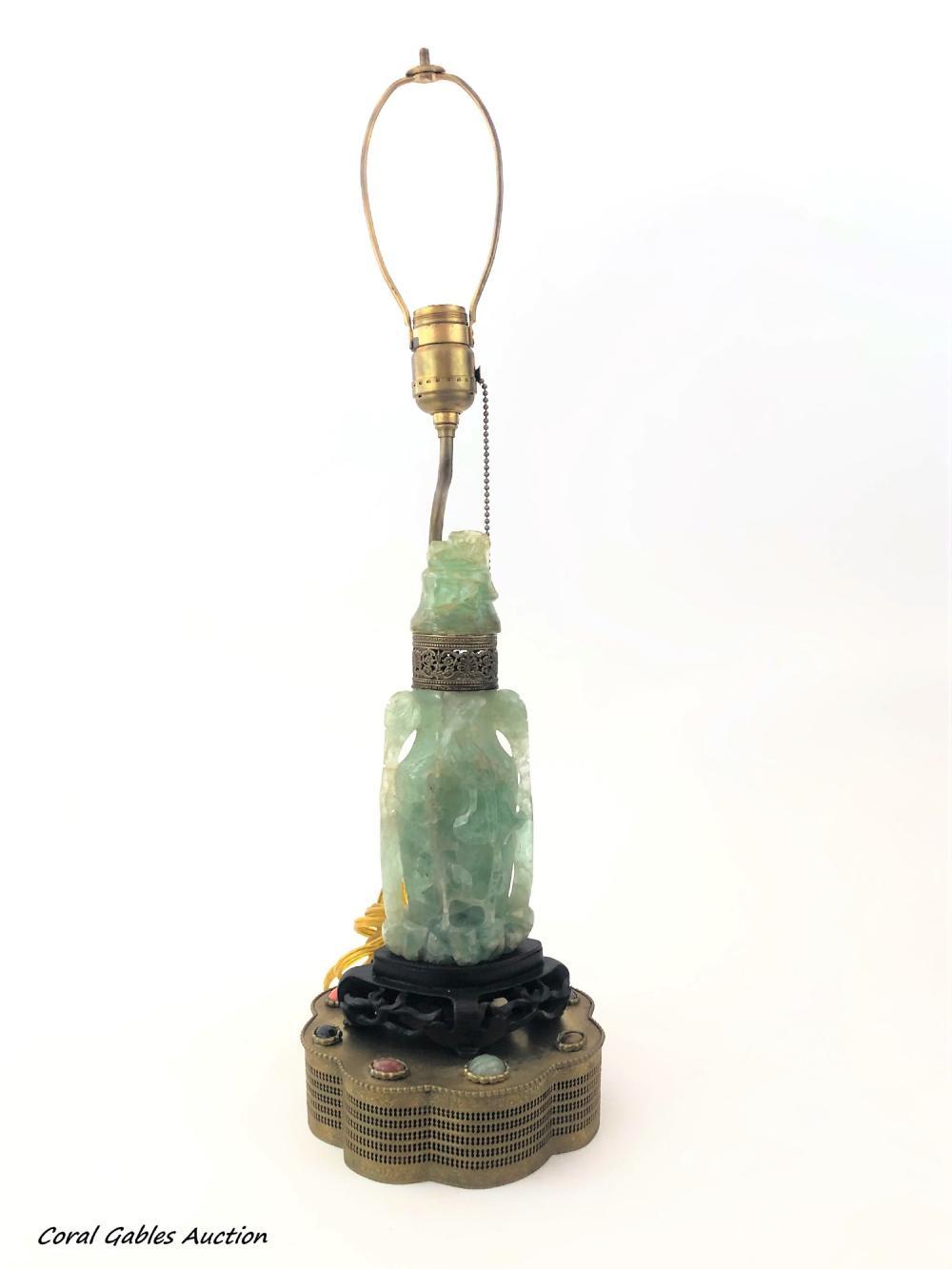 Green Quartz Sculpture Lamp