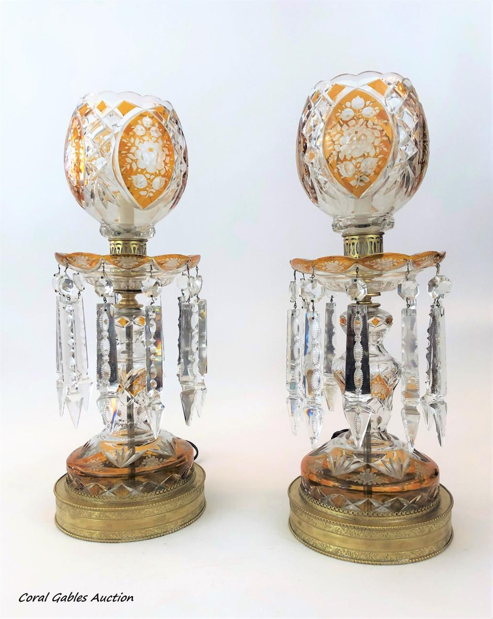 PAIR BOHEMIAN STYLE CANDLE LUSTRES