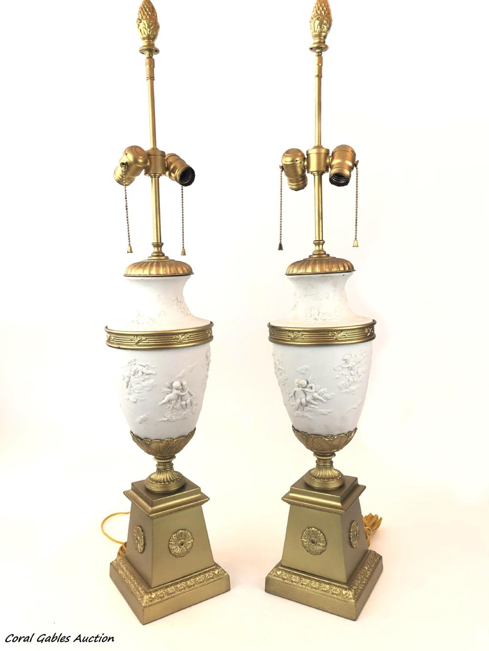 Pair of biscuit lamps