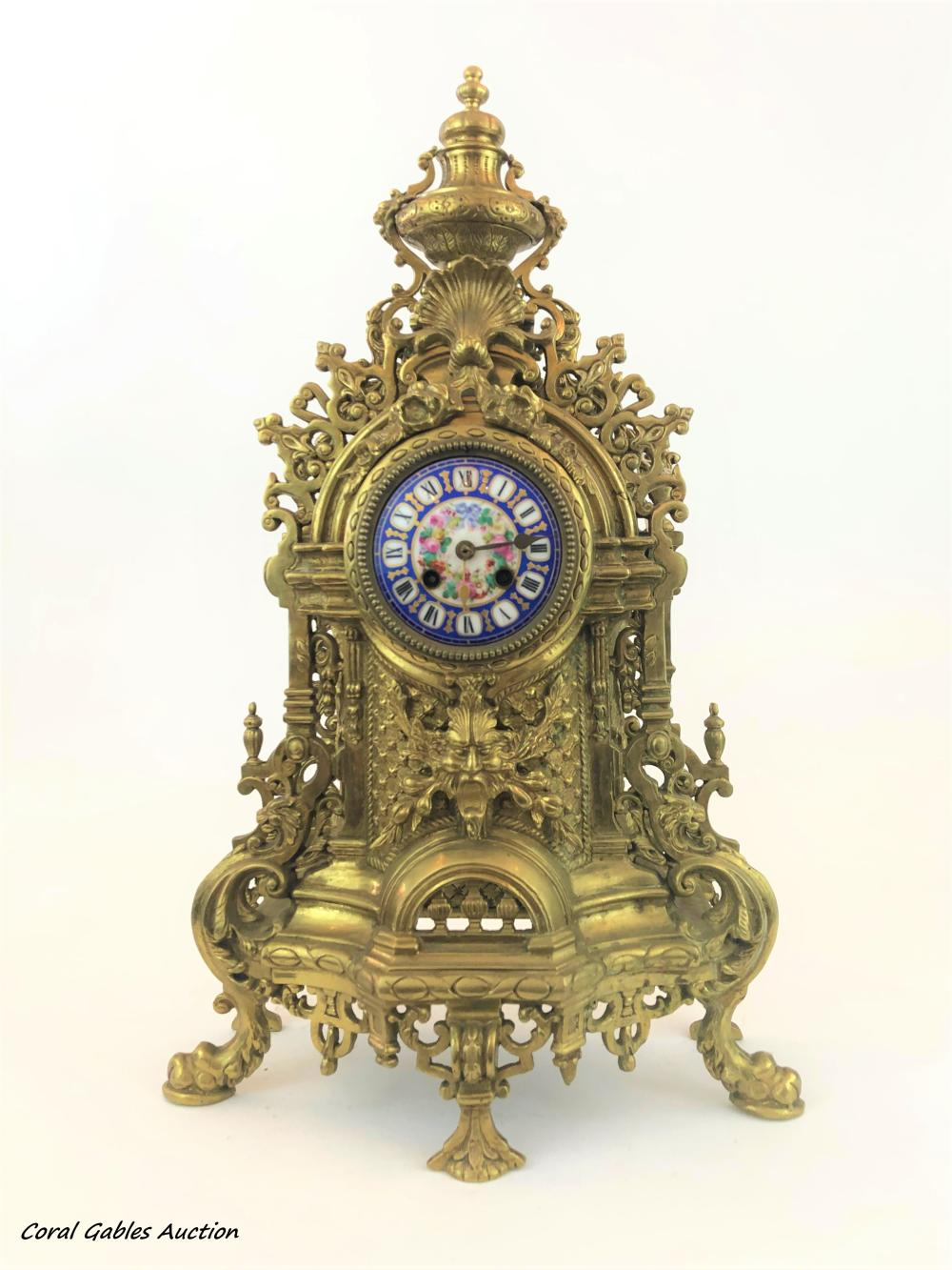 Bronze clock with sevre-style dial