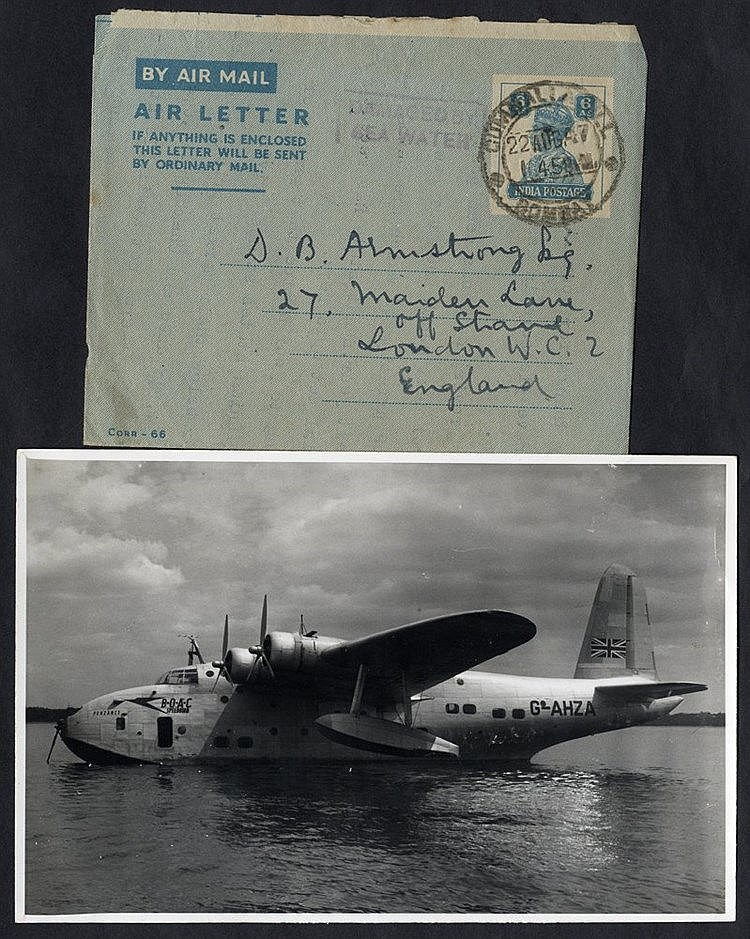 1947 BOAC flying boat Portland homeward bound from Hong Kong, cra