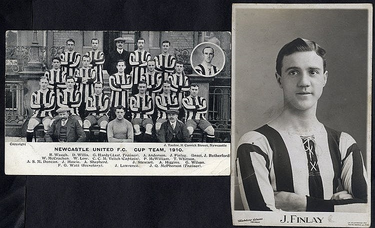 NEWCASTLE UNITED two RP's 1907 J. Finlay (player) half length por