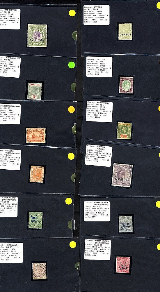 BRITISH COMMONWEALTH Ex-dealer's stock of stamps each on a black