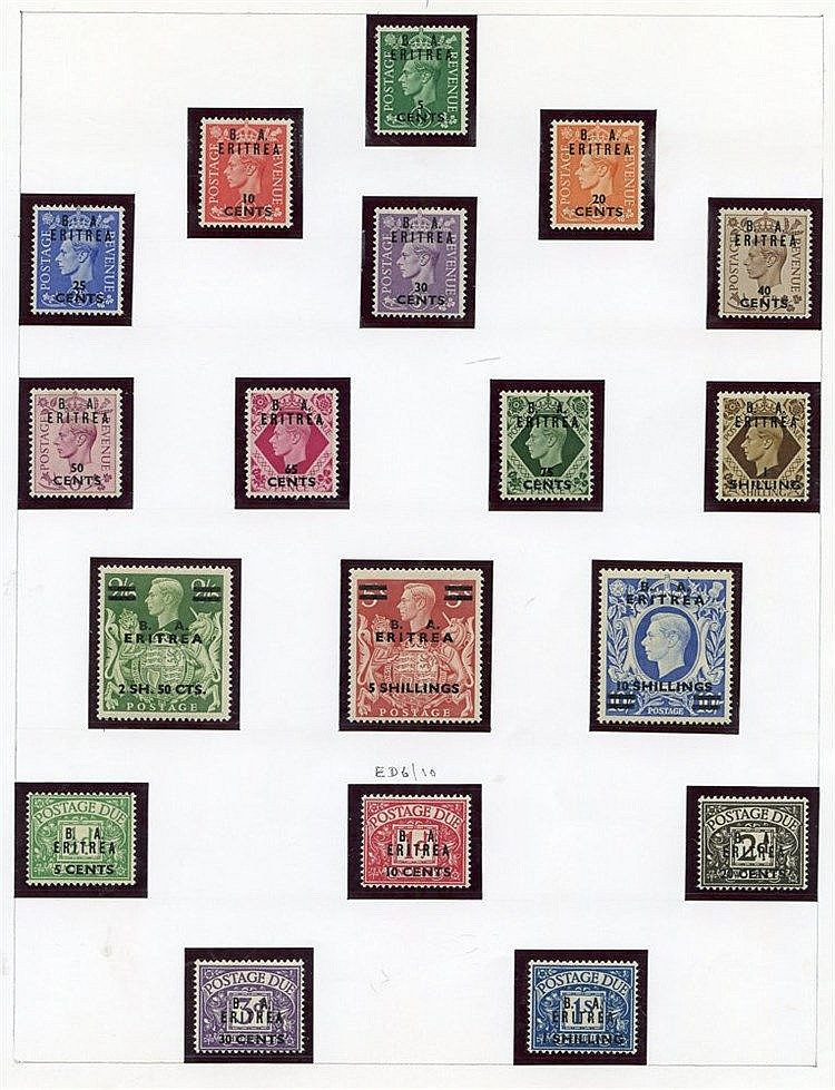 ERITREA 1948 BMA set, 1950 BA set, also both Postage Due sets M.