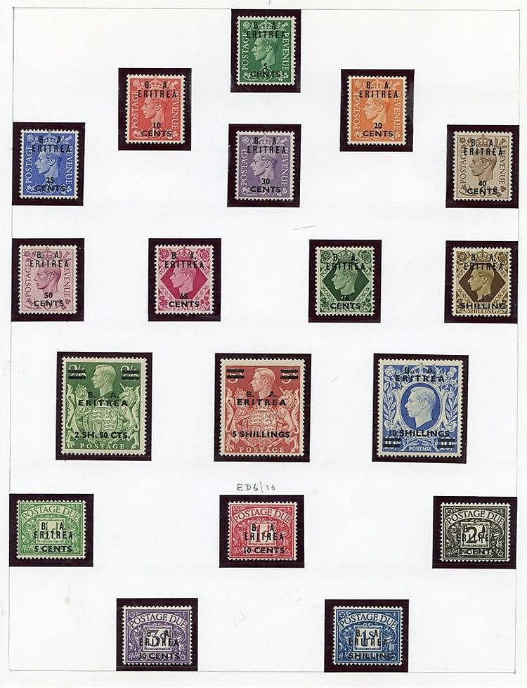 ERITREA 1948 BMA set, 1950 BA set, also both Postage Due sets M.