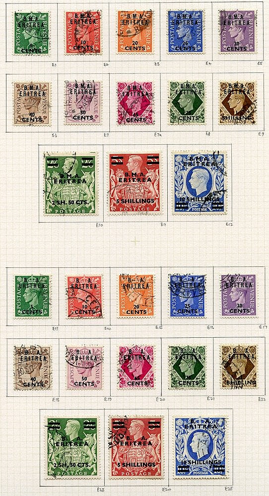 ERITREA 1948-51 complete basic issues U on philatelic leaves, all