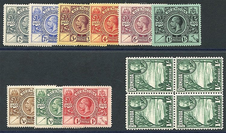 1921 Tercentenary set M, SG.68/76, 1936 1s green UM block of four