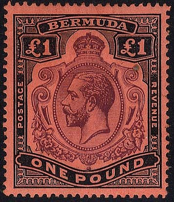 1918-22 MCCA £1 purple & black/red, variety 'nick in top right sc