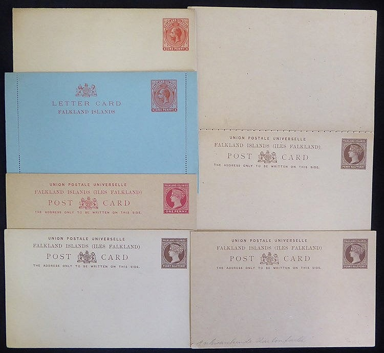 QV-QEII unused assembly of postal stationery with QV 1d postcards