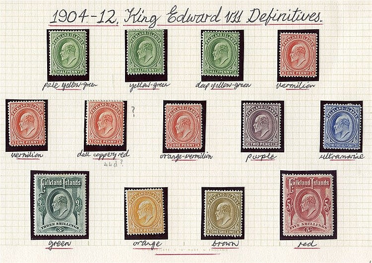 1904-12 MCCA set, fine M incl. extra shades (odd minor tones), SG