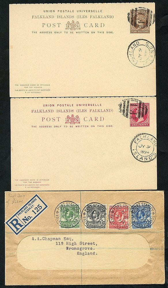 FALKLAND ISLANDS & ANTARCTICA 1894 - later with QV 1d & 1½d unadd