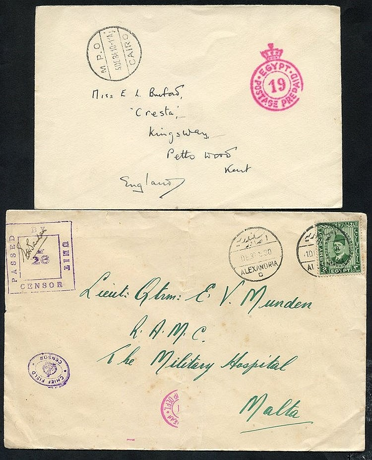 1930's BRITISH FORCES various covers with Crown postage prepaid m
