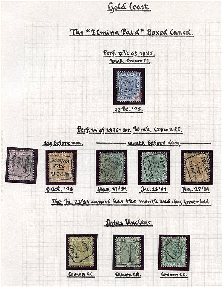 1870's-90's small range of Elmina cancellations on loose adhesive
