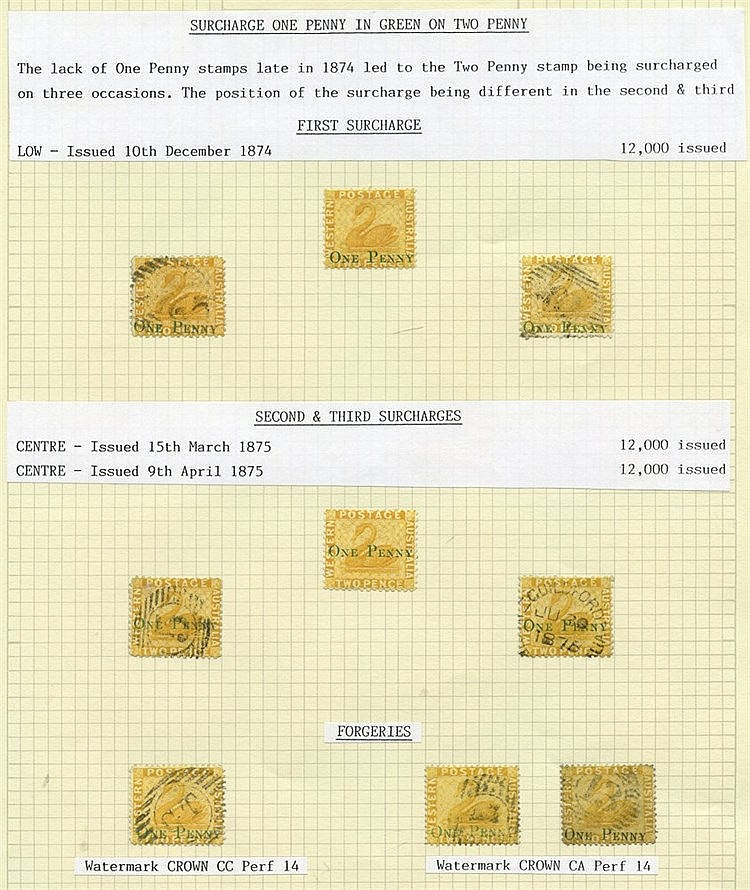 1874 (Dec) 'ONE PENNY' on 2d yellow with surcharge low (3) - one