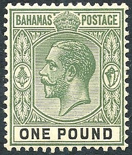 1912-19 MCCA £1 dull green & black, M (gum toned), SG.89, Cat. £2