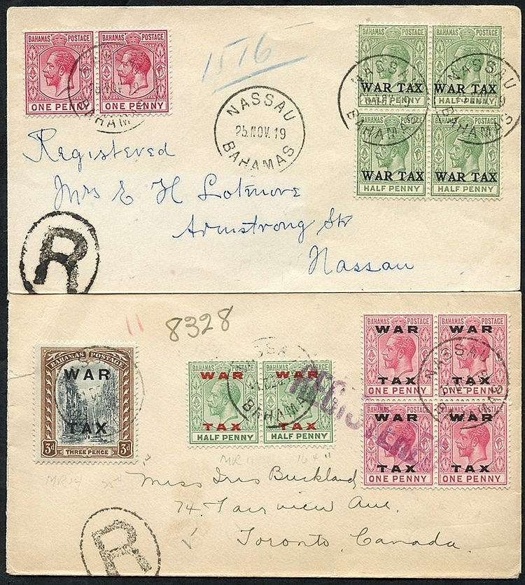 1919 reg cover to Toronto, Canada, franked pair ½d, block of four