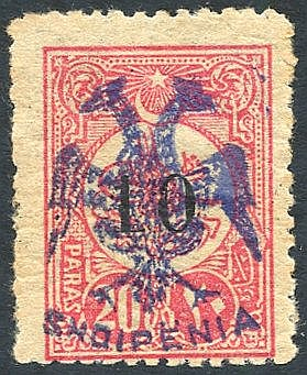 1913 10pa on 20pa rose carmine optd in blue, UM example (centred