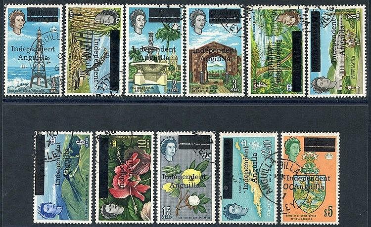 1967 Independent/Anguilla optd vals ½c to 15c + $2.50 & $5, VFU,