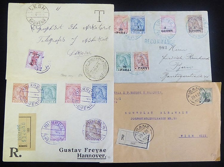 ALBANIA & GREECE 1914 provisional frankings incl. scarce SG.39a o