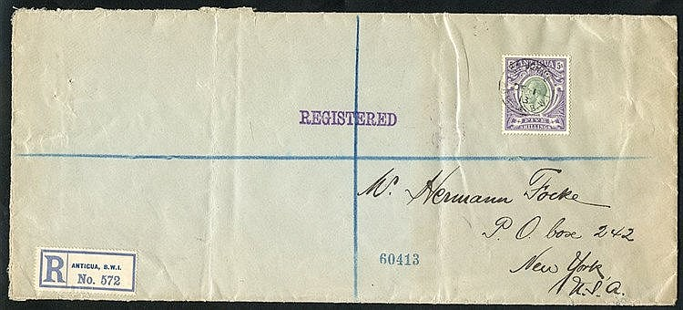 1913 legal size reg cover to New York, franked KGV 5s grey-green
