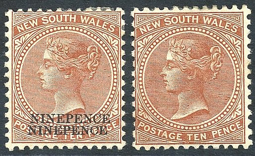 1899 (Oct) 9d on 10d dull brown (two examples) - one with surchar