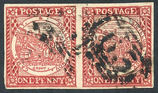 1850 Sydney View 1d vermilion pair, Pl.2 on laid paper [2 no tree