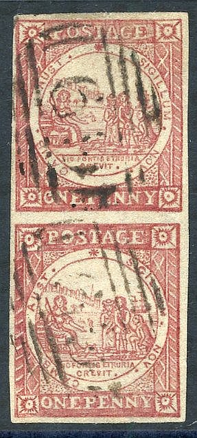 1850 Sydney View 1d pale red Pl.1 vertical pair on bluish paper [