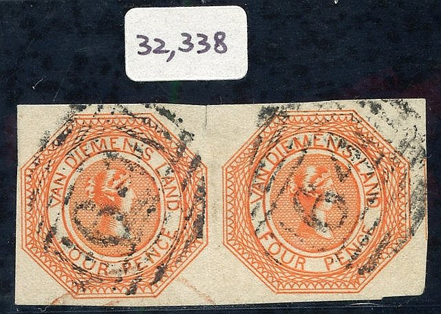 1853 Plate 1 4d bright red-orange, an exceptional horizontal pair