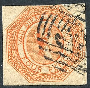 1853 Plate 1 4d bright red-orange [9], a fine early impression wi