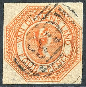 1853 Plate 1 4d bright red-orange [5], an early impression with s
