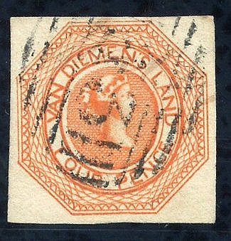 1853 Plate 2 4d orange [2], good to large margins, cancelled by s
