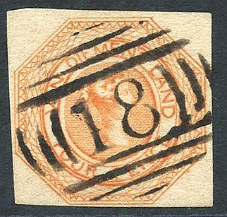 1853 Plate 2 4d dull orange [18], close to large margins, crisply