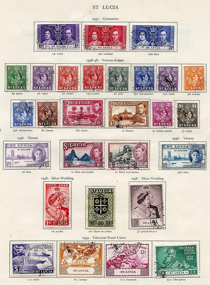 ST. LUCIA 1937-51 complete (49), ST. VINCENT 1937-51 complete (51