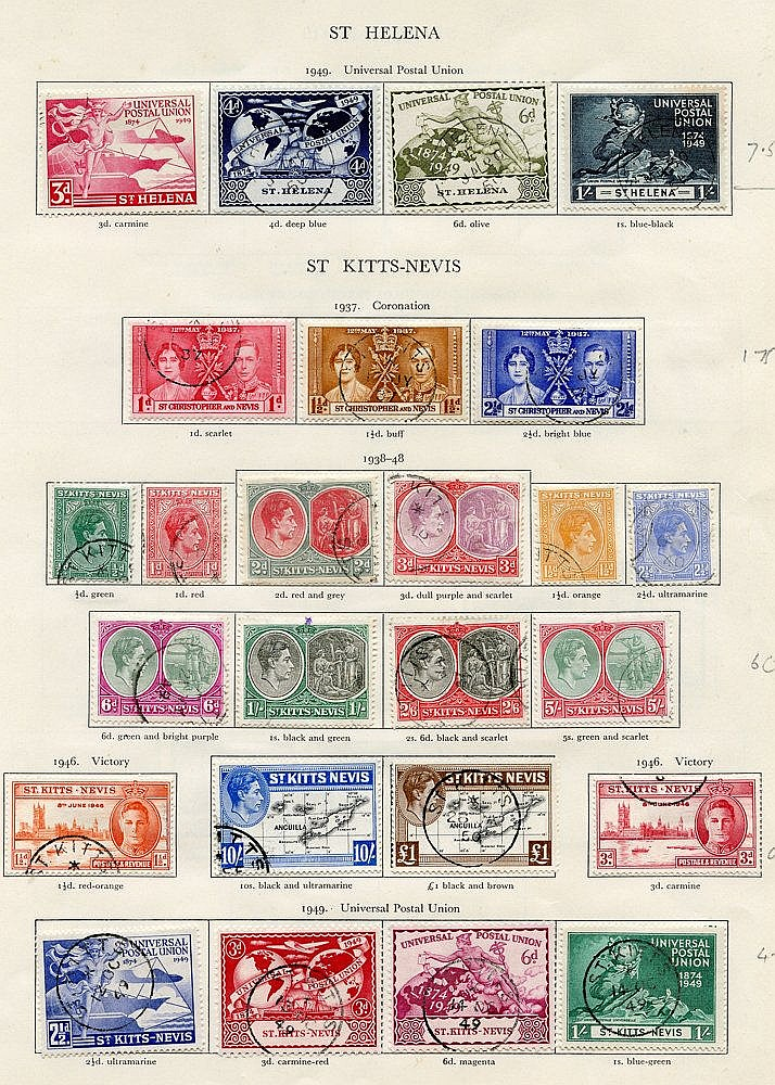 ST. HELENA 1937-49 complete (28), ST. KITTS NEVIS 1937-52 complet
